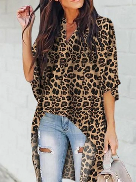Fashion Women's Casual V-Neck Blouse Half Flare Sleeve Long Shirt Ladies Irregular Leopard Print Tops and Blouse in 2020 | Shirt style, Fashion, Blouse designs