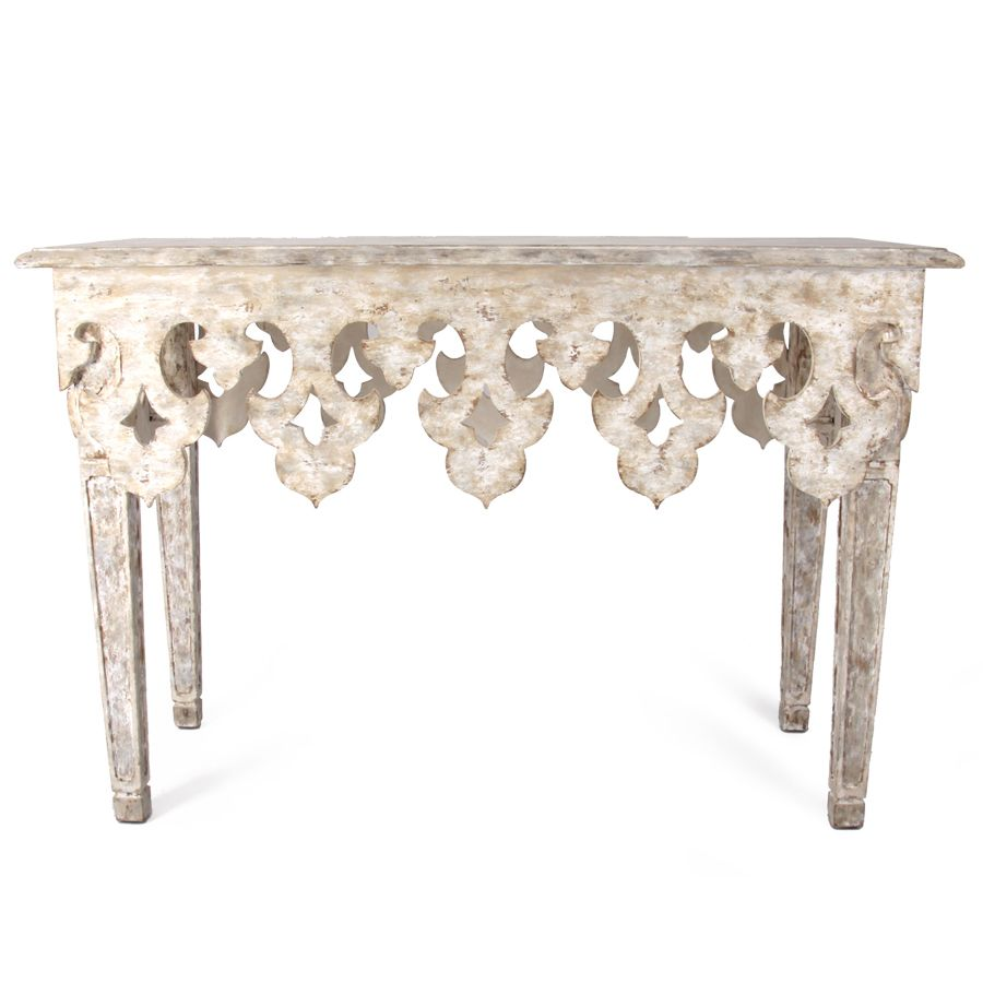 A Beautiful Hand Carved Fleur De Lis Design On The Apron Of This Console  Table