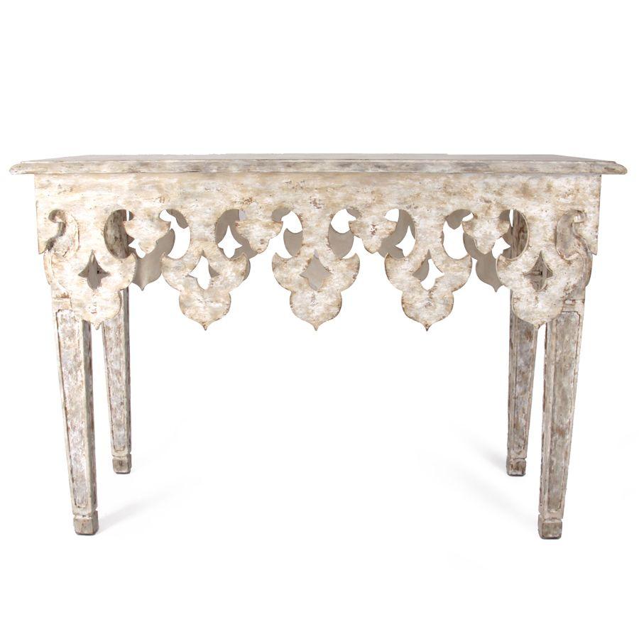 Distressed Fleur De Lis Console Table Furniture