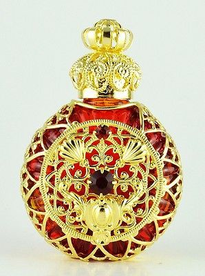 Perfume Bottle Vintage Vanity Gold Tone Filigree Red W Red Faceted Stone