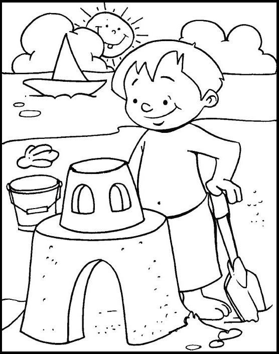 Creating Sand Castle On Beach At Summer coloring picture