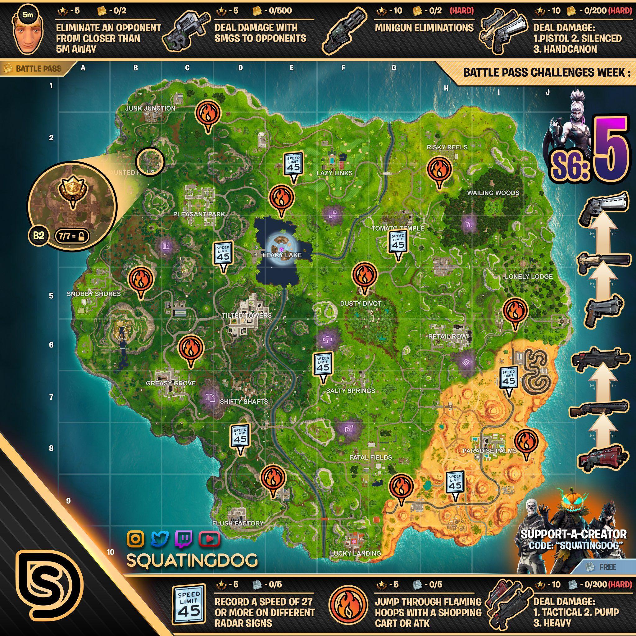 Full Cheat Sheet With All Season 6 Week 5 Fortnite Challenge