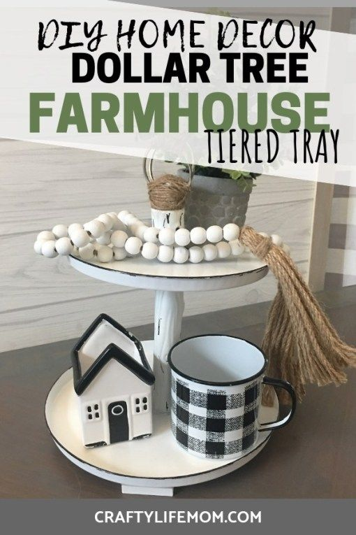 Dollar Tree Farmhouse Tiered Tray used to add home decor to your home