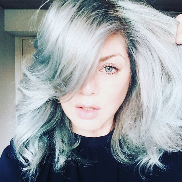 Goodnight !!!!!!! or is it good morning @wellahair @wellapro_anz @eugenesouleiman thanks to @ash_croker  new colour #bluehair #steelblue  DONT STRESS I WILL GO BACK TO PINK HAIR VERY SOON at the moment having fun this colour xxxxxx