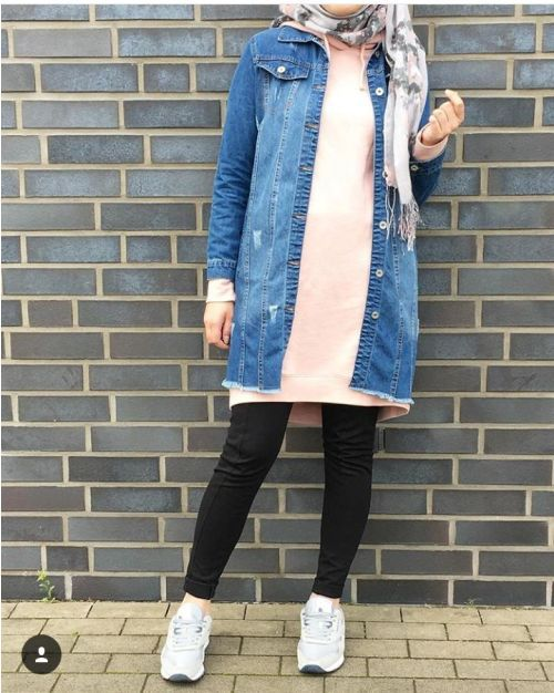 fa8f8e52ec Oversized jacket with hijab-How to renew your style with hijab – Just  Trendy Girls