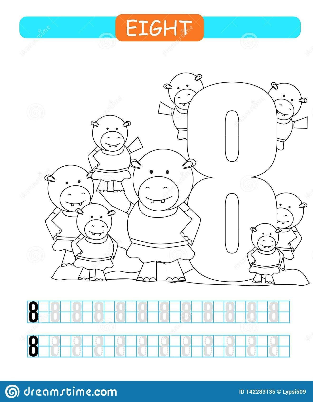 Number 8 Worksheet Preschool Eight Learning Number 8 Coloring Printable Worksheet For In 2020 Preschool Worksheets Learning Numbers Preschool Colors