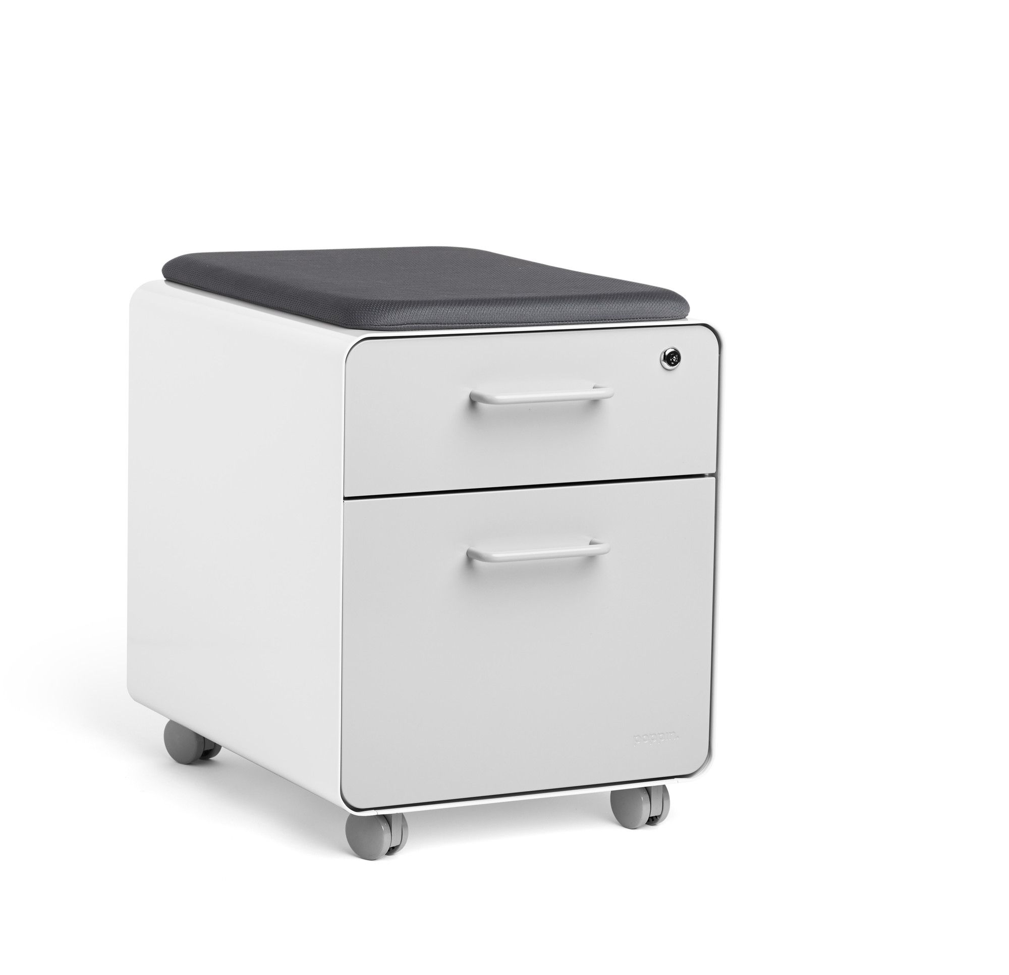 Poppin White Light Gray Mini Stow 2 Drawer File Cabinet Rolling
