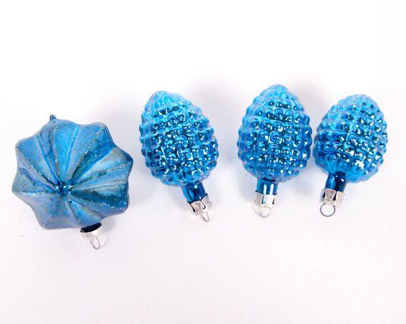 Vintage Cobalt Blue Ornaments Blue Christmas Tree Ornaments