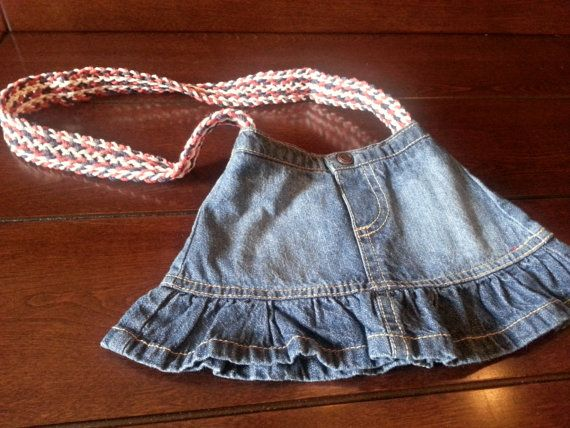 Love this! Small denim purse with red white and blue by highclasswhitetrash, $15.00
