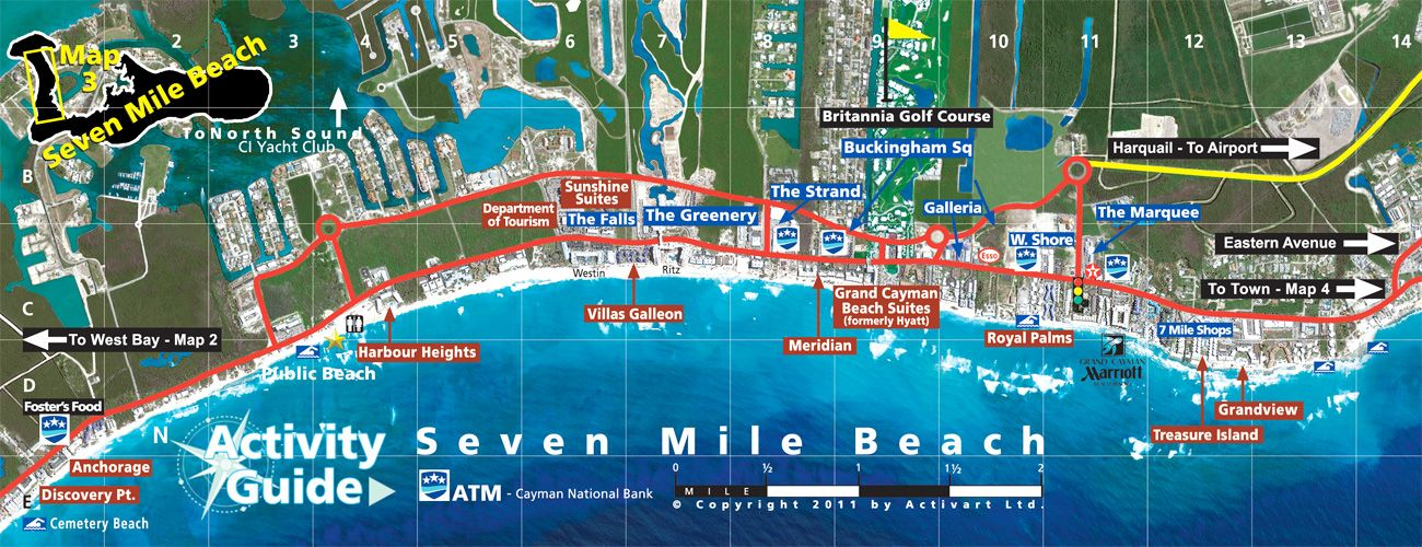 Grand Cayman Map of Seven Mile Beach  Grand Cayman Things To Do
