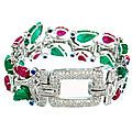 Colored Stone and Diamond Bracelet, Van Cleef & Arpels, French, Circa 1930. photo Sotheby's Old European-cut diamonds...