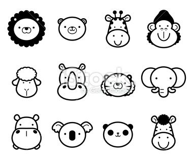 Cute Zoo Animals In Black And White Easy Animal Drawings Animal Templates Animal Drawings