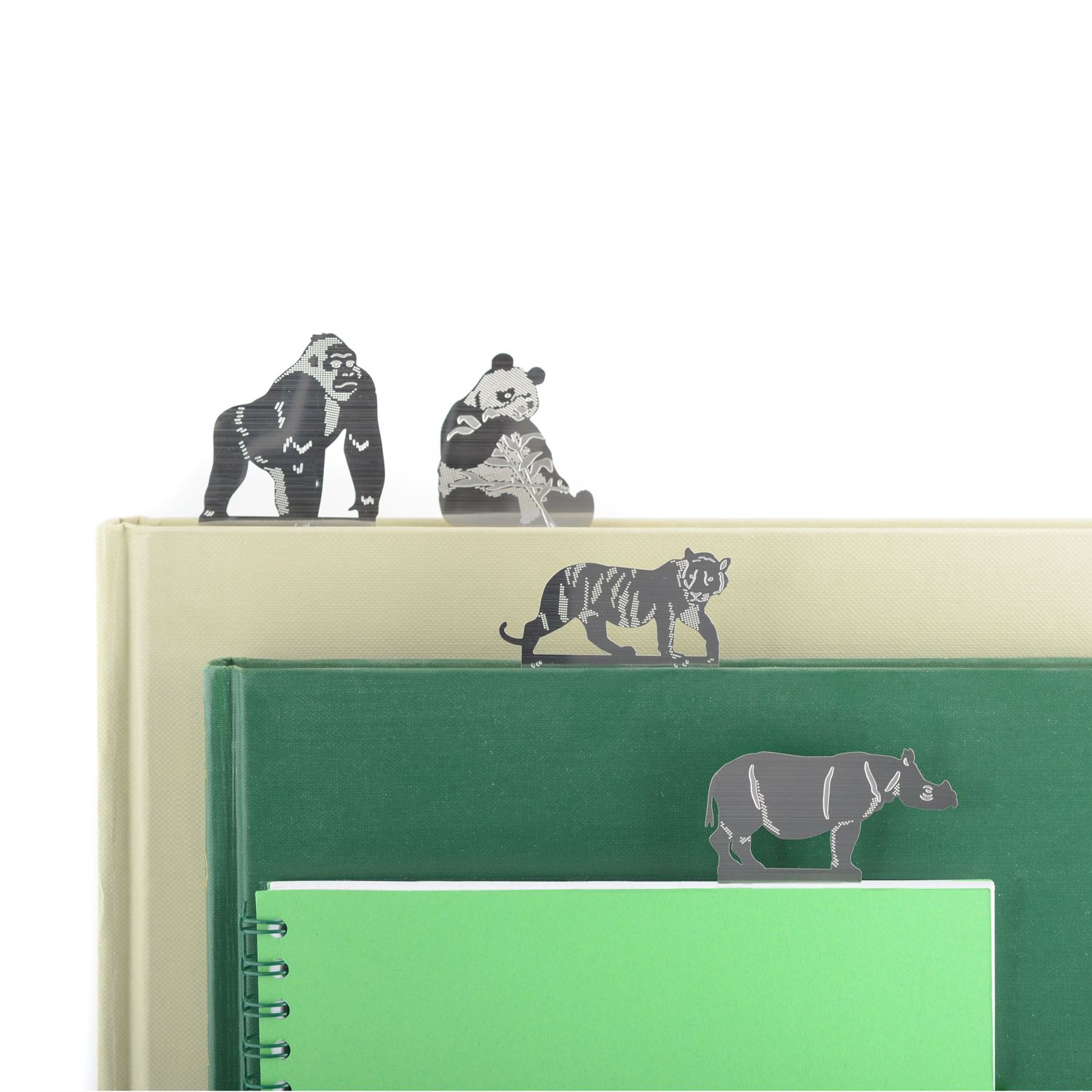 A perfect gift for animal and wildlife lovers! The set of metal bookmarks feature a Giant Panda, Javan Rhino, Mountain Gorilla and Sumatran Tiger