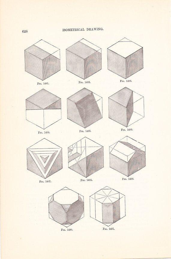 1886 Technical Drawing - Antique Math Geometric Mechanical Drafting - new blueprint program online