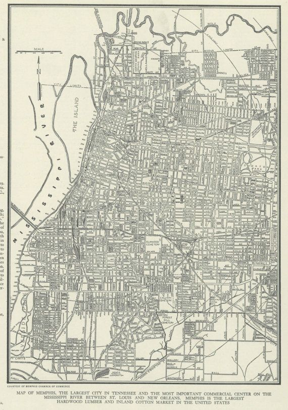 Vintage Map of Memphis Tennessee From 1937 Original | Walking In ...
