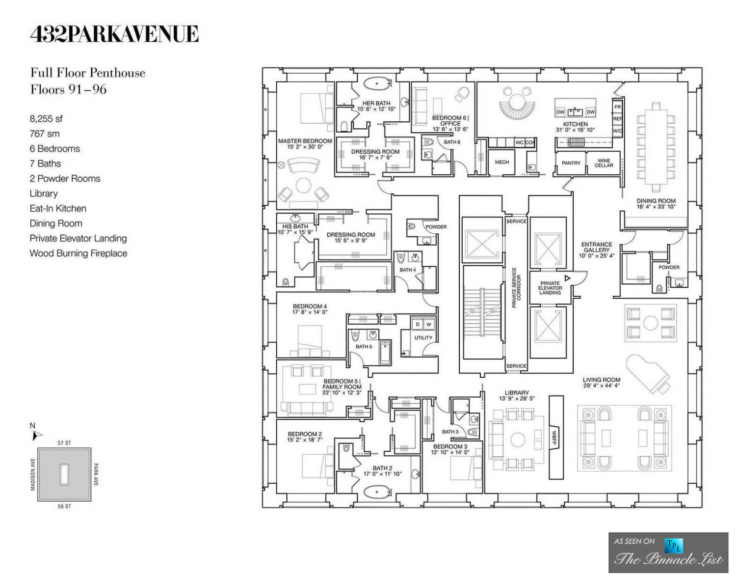 Luxury penthouse floor plan ph92 432 park avenue new for Floor plans manhattan apartment buildings
