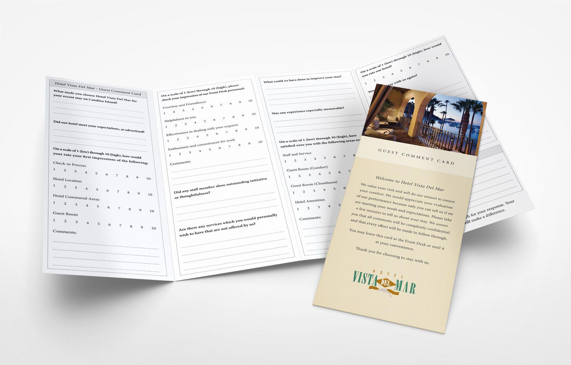 Hotel Guest Questionnaire Graphic Design Website Design