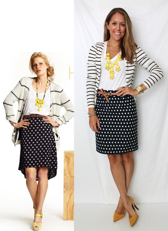 black & white polka dot skirt, black & white striped cardigan, white top, yellow/brown accessories