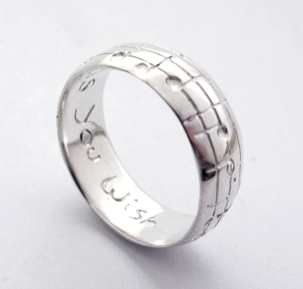 Mens Song Wedding Band 10 Karat White Gold by Ricksonjewellery