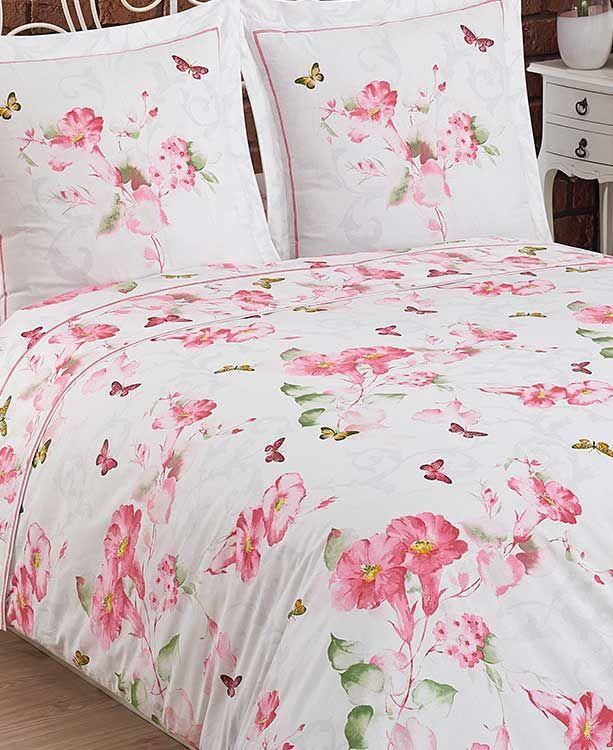Linge De Lit Fil Blanc Charme Rose Bed Home Comforters