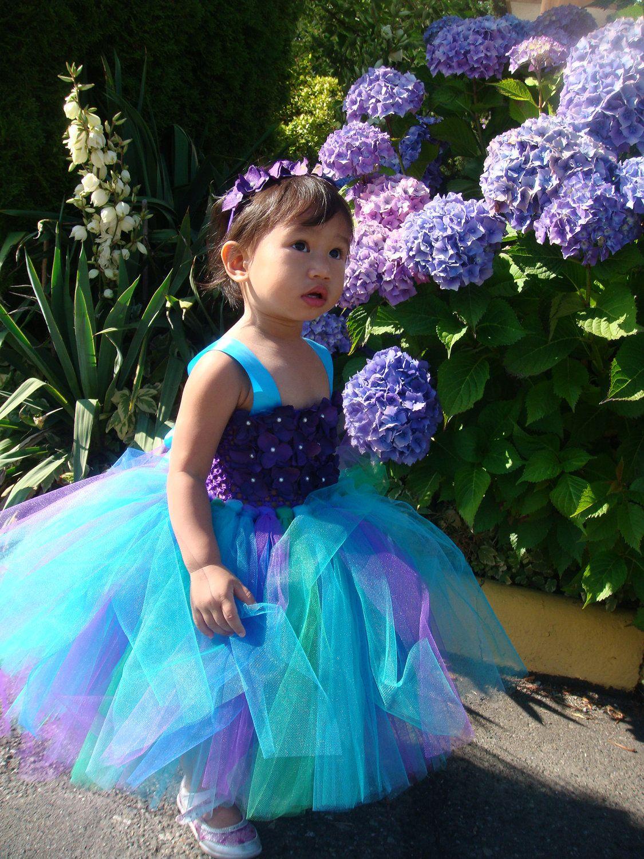 Elegant peacock flowergirl tutu dress with detachable