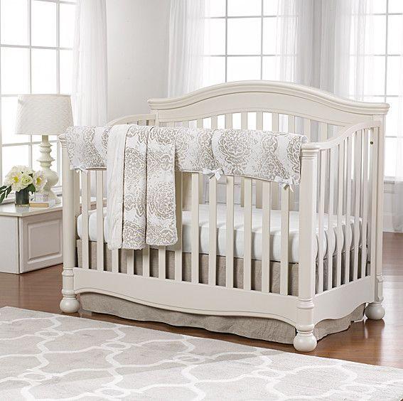 Tristan Linens Taupe Bumperless Crib Bedding Crib