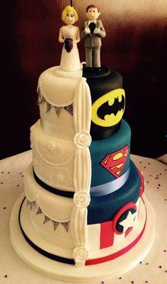 Hidden Superhero Wedding Cakes - Wedding Cake Super Heros, Half And Half Wedding Cake
