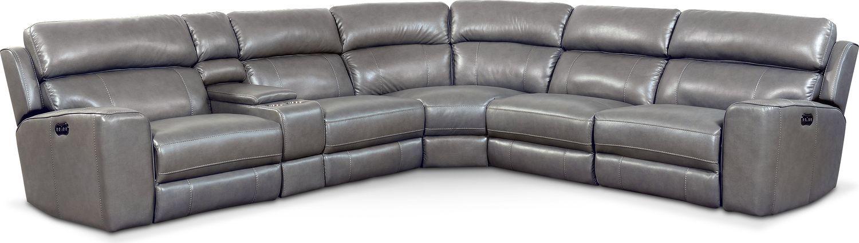 Living Room Furniture Newport 6 Piece Power Reclining Sectional