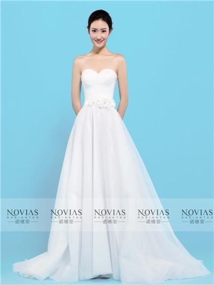 Sweetheart Neckline Flowers Belt A-Line Organza Wedding Gown ...