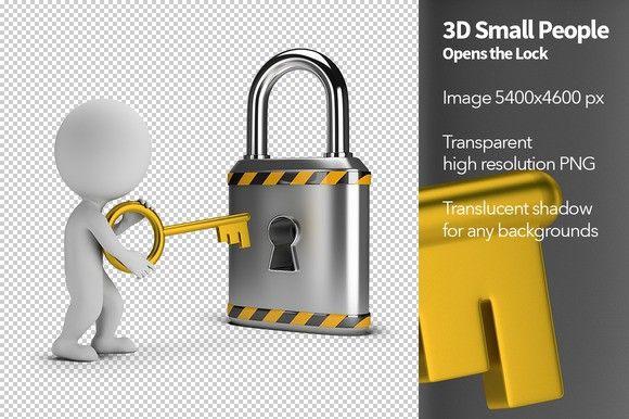 3d Small People Opens The Lock Lock Steel Lock Image