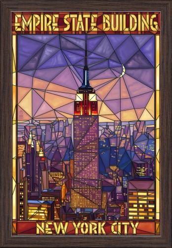New York City - Empire State Building Stained Glass Window - Lantern Press Artwork (16x24 Giclee Art Print, Gallery Framed, Espresso Wood), Multi