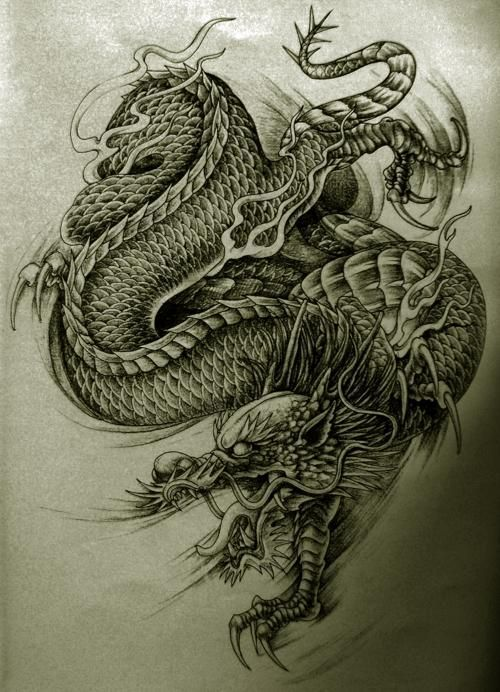 Drawn Chinese Dragon Old Chinese 696 R T Tatuaże