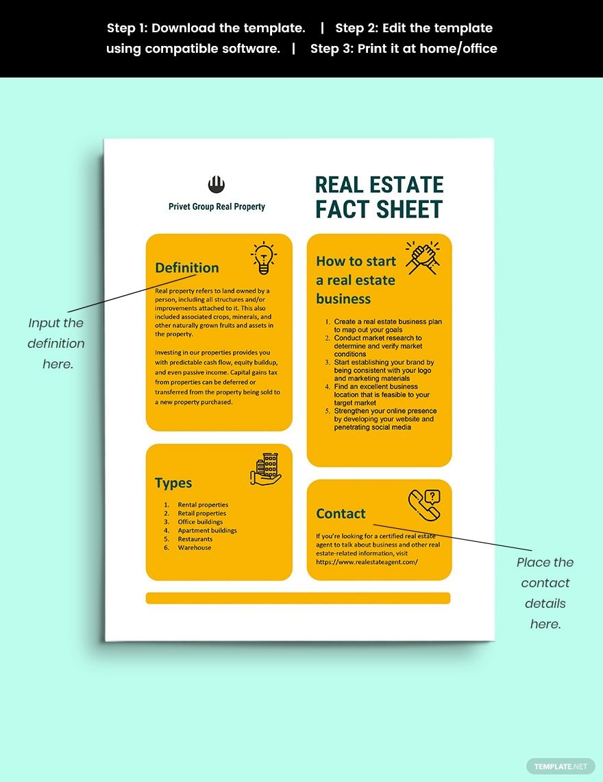 Real Estate Fact Sheet Template Word Apple Pages Google Docs Fact Sheet Facts Templates