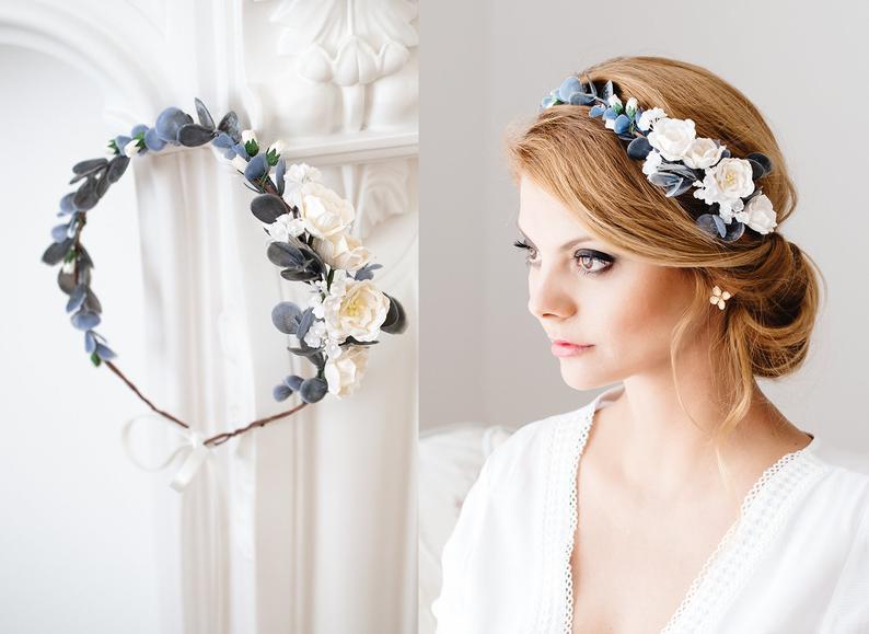 Vintage Flower Headband Ivory Flower Wedding Headband with Green Leaves Bridesmaids Floral Headband Ivory Hair Accessory