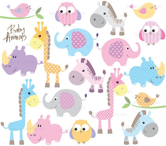 Baby Animals Clipart Free Commercial Use Cute Clip Art Featuring Elephant Giraffe Owl Bird Rhino And Zebra 10421 In 2021 Free Clip Art Baby Zoo Animals Animal Clipart Free