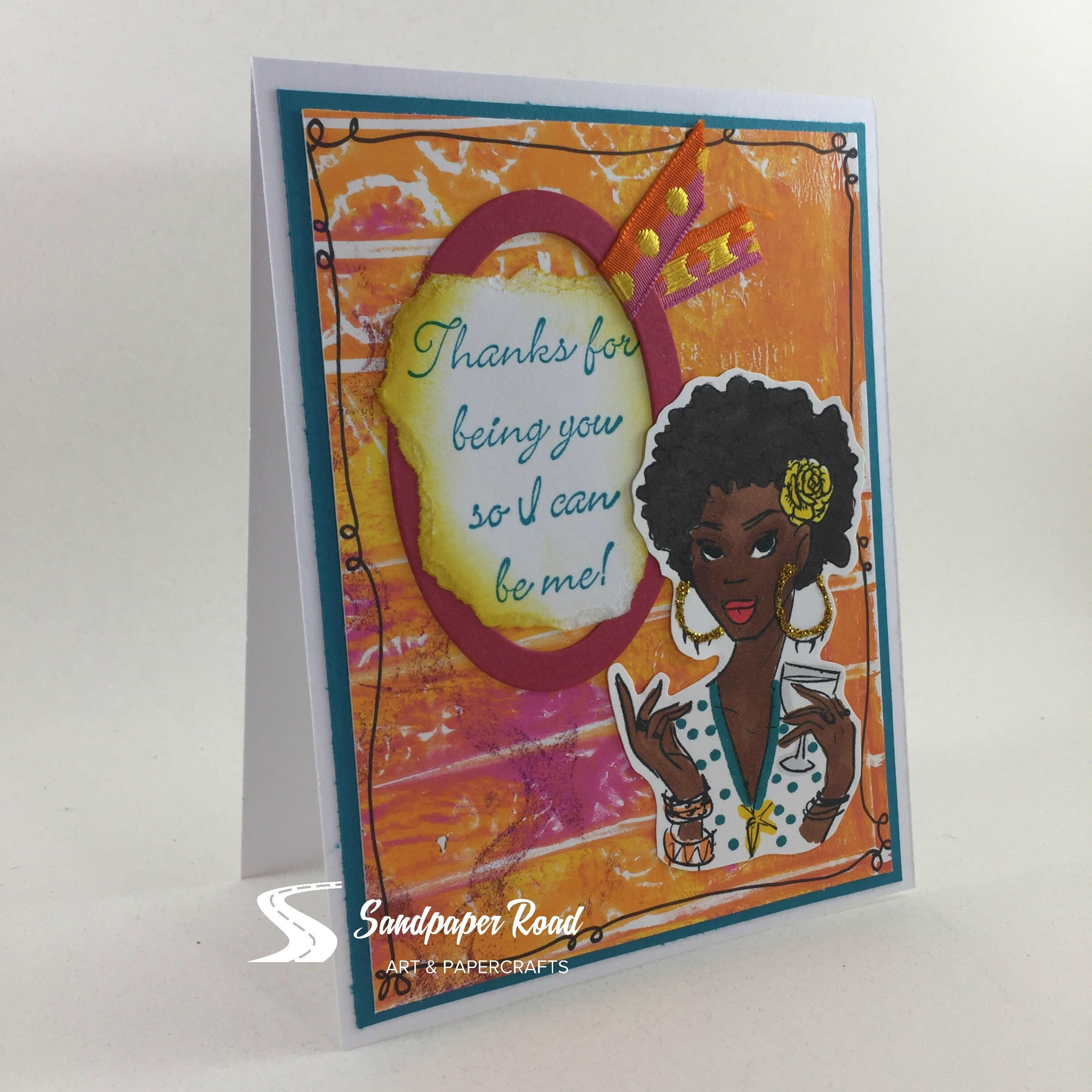 African American Greeting Card Featuring Rubbernecker Stamp