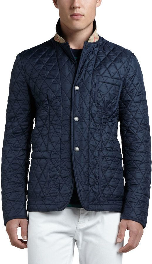 $495, Navy Quilted Blazer: Burberry Brit Quilted Sport Jacket Navy. Sold by Neiman Marcus. Click for more info: https://lookastic.com/men/shop_items/311720/redirect