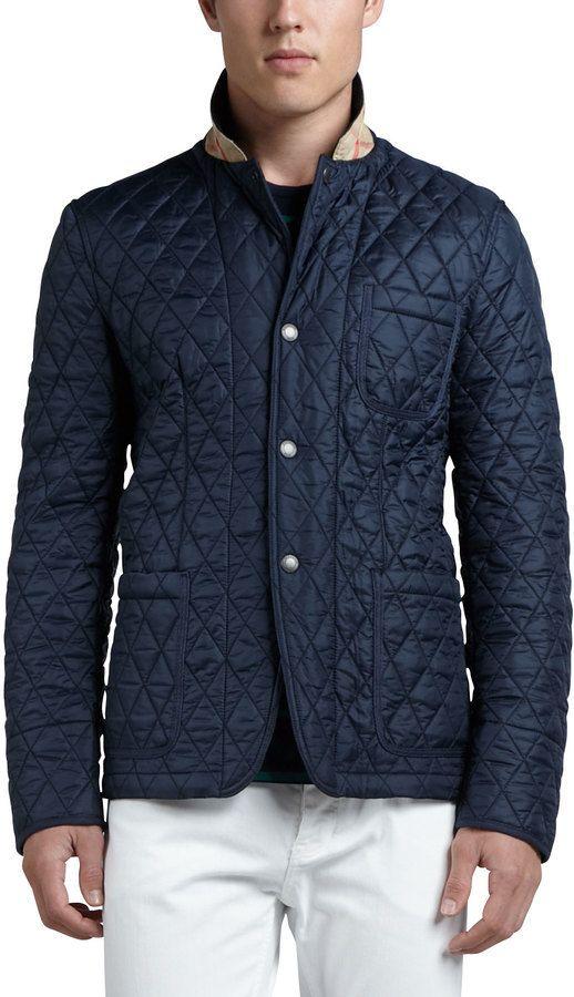 495 Burberry Brit Quilted Sport Jacket Navy Mens Outwear Sports Jacket Preppy Men
