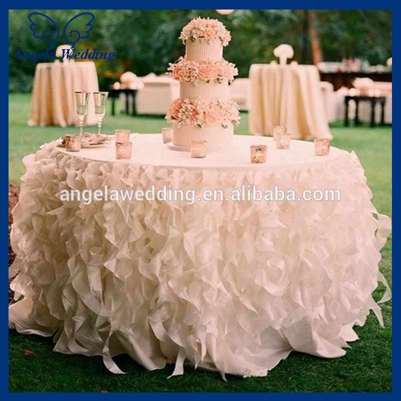 Cl010l Cheap Hot Sale Elegant Polyester Organza Round Ruffled Curly Willow Frilly Pink Fancy Wedding Tablecloths