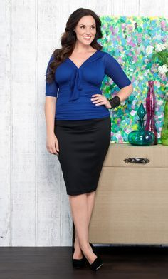 ca968ce70c7 Curvy Woman Black Pencil Skirt Blue Top and Black High Heels ...