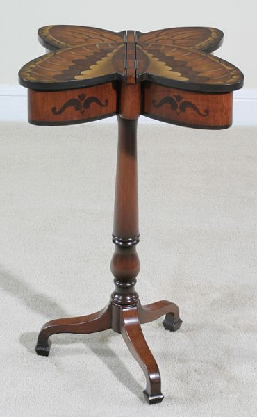 Circa Butterfly Accent Table: Reproduction Of An Antique Sewing Table.  Hand Painted /