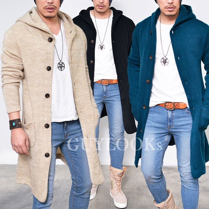 Long Length Mens Urban Knit Sweater Hooded Long Button Up Jacket ...