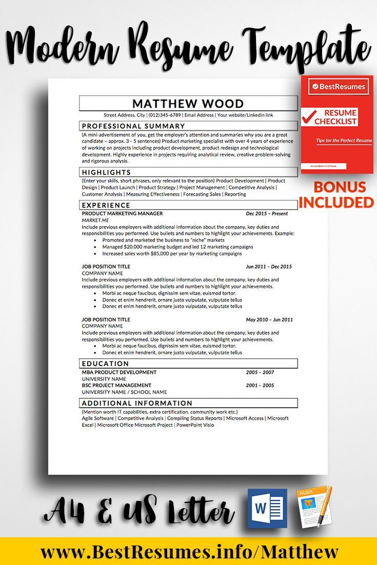 Simple Resume Template Matthew Wood - Simple resume template, Resume cover letter template, Best resume template, Teacher resume template, One page resume template, Resume layout - Simple Resume Template Matthew Wood  Land the job with this professional resume template today! Easy to edit and adjust! Resume tips included!