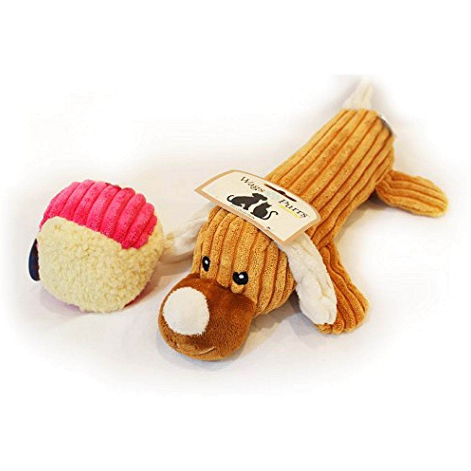 Set Of 2 Dog Pet Toys A Stuffed Brown Dog With Water Bottle