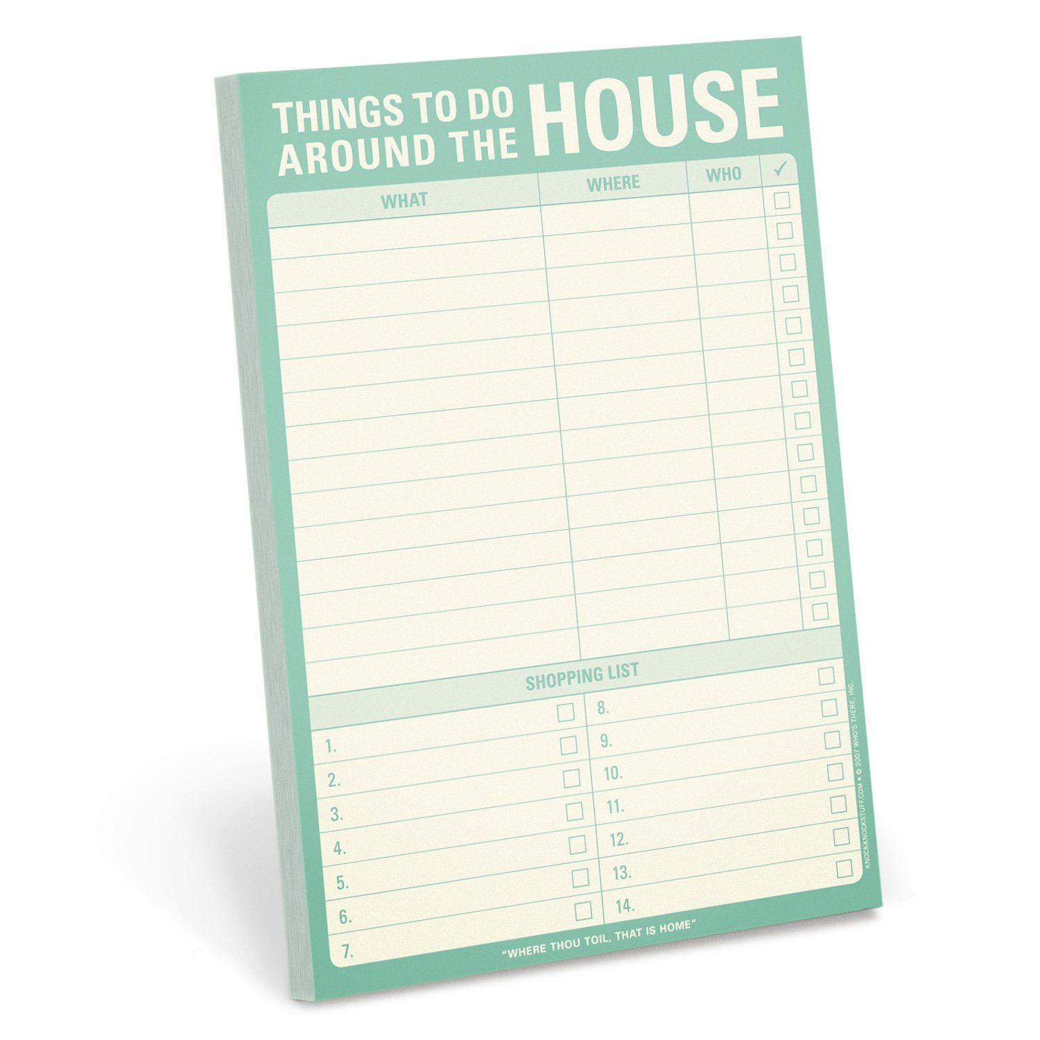 Knock Knock Things To Do Around The House Notepad Lets You Track Your Household To