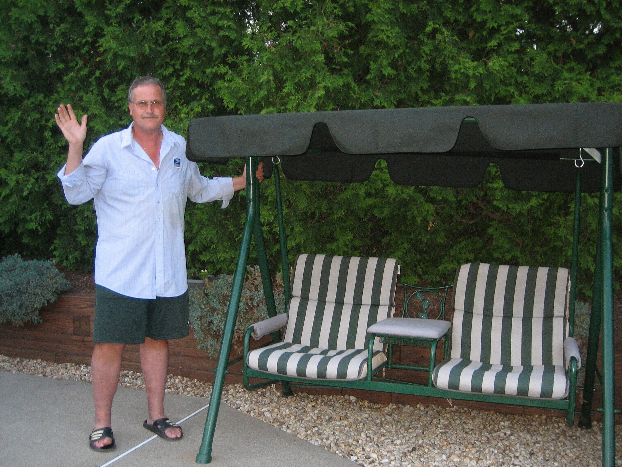 Happy Customer with replacement canopy for Walmart 2 seat swing - Sunbrella fabric comes with a  sc 1 st  Pinterest & Happy Customer with replacement canopy for Walmart 2 seat swing ...