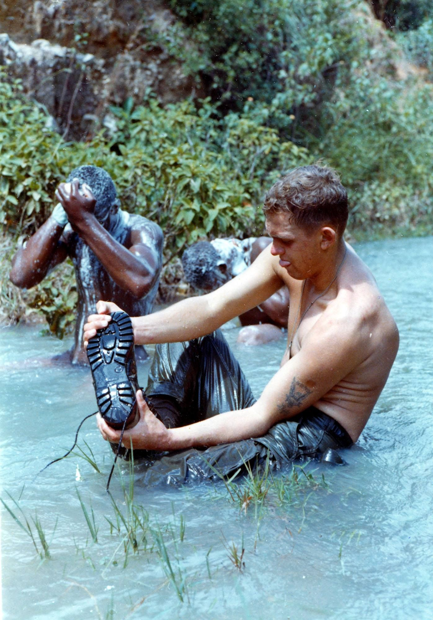 Riflemen With A Co 1st Bn 8th Cav 1st Bde Cool Off