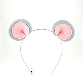 GREY CLIP ON MOUSE ANIMAL EARS BOOK WEEK Womens Ladies Childs Fancy Dress