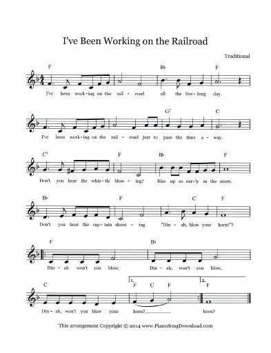 I\'ve Been Working on the Railroad Free Lead Sheet | Piano Lead ...