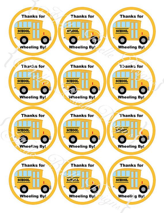 Wheels on the Bus Printable Round Favor Tags or by HelloBrielle